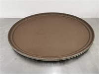 "Large 27"" Cambro Non-Skid Oval Bar Tray - Brown"