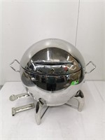 Elegant S/S Roll Dome Chafer W/ Gold Handle