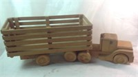 26 inch long wood carved truck and trailer