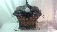 Metal and wicker home decor piece