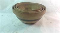 4 antique stoneware banded bowls