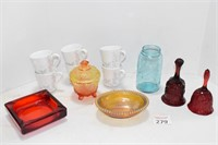 Corning Ware, Carnival Glass, Red Ruby