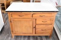 Enamel Top Wooden Cabinet
