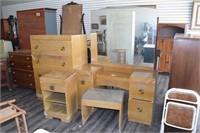 Mid Century Bedroom Set w/ Neat Square Knobs
