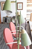 Green Mid Century Lamp w/ Bullet Shades