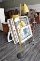 Yellow Mid Century Lamp w/ Bullet Shades