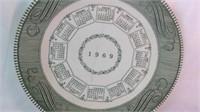 1969 royal ironstone calendar plate