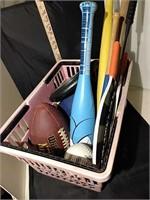 Basket Of Bats & Balls