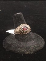 Sterling Silver ring with Garnet - size 8.5
