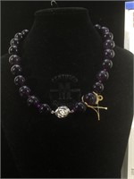 GLA Certified Appraised Large Amethyst necklace -
