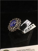 Appraised Sterling Silver ring with 2.25 carat