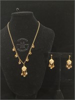 Vintage Janny Costume necklace and earring set 16