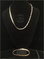 Sterling Silver braided necklace and bracelet set