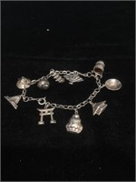 Sterling Silver Japanese Charm Bracelet - 7 in -