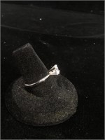 Sterling Silver engagement ring with large CZ -