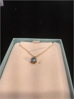 14K Gold necklace with pendant with blue stone -