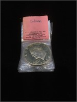Lot of 5 Silver 1974 Eisenhower dollar coins in