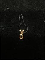 14K Gold pendant with Garnet and Diamond - 0.3g