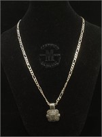 Sterling Silver necklace with Marcasite pendant -