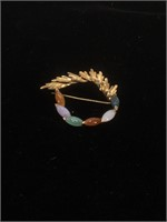14K Gold brooch with multicolored stones - 4.9g
