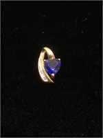 10K Gold Pendant with Sapphire and Diamonds - 1g