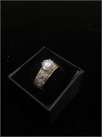Sterling Silver engagement ring with CZ - size