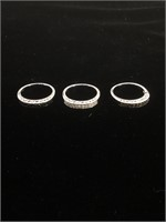 Set of 3 Sterling Silver rings with clear and