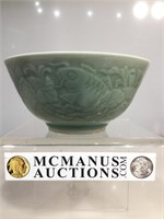 Celadon Bowl w/Koi fishes on the sides, approx