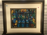 Painting of Stained glass window, Signed Wood