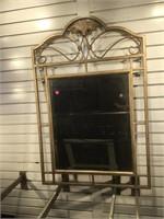 Metal framed wall beveled mirror