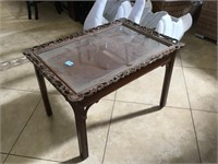 Hand carved wide table w/removable top, approx