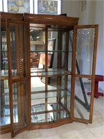Wooden lighted display cabinet w/3 glass shelves,