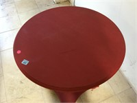 Red wooden round side table, approx 25x25 inches