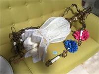 Vintage Brass chandelier w/marble hanging base
