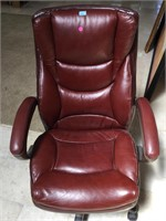 Red Leather rolling comfy office chair