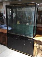 Wooden china hutch w/3 glass shelfs and glass