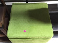 Green square stool, approx 19x19x19 inches