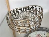 Pair of round metal trays