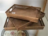 Set of 3 matching metal trays
