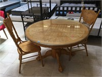 Wooden dining table w/glass to and 2 chairs,