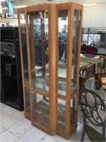 Wooden display cabinet w/3 glass shelves, approx