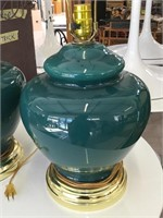 Pair of glass table top lamps without shades,