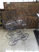 Wooden horse rocking chair and metal stand shaped