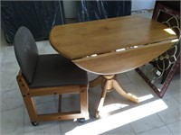 Wooden dinning table w/drop leafs and chair,
