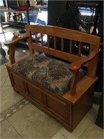 Wooden bench with compartment, approx 38x16x33