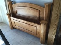 Wooden headboard and footboard w/sides - queen