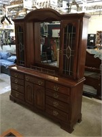 Wooden buffet w/hutch and glass doors, approx