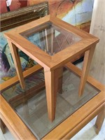Side table w/glass top and more, approx 25x22x19
