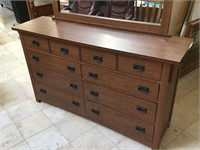 Wooden dresser w/mirror, approx 64x18x37 inches