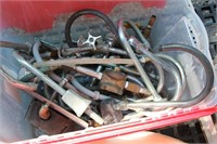 clear tote red lid, various plumbing supples